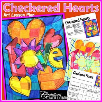 Valentine S Day Art Activity Checkered Hearts Tpt