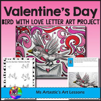 Valentine's Art Lesson, Bird with Love Letter
