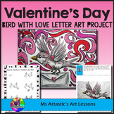Valentine's Art Lesson, Bird with Love Letter