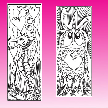 Valentine's Day Bookmarks for Coloring