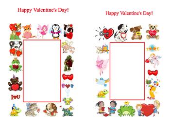 Valentine's Day Art Crafts Card Kindergarten Write in Blank Spaces Fold in Half