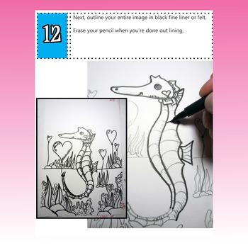 Valentine's Art Lesson, Sea Horse with Hearts