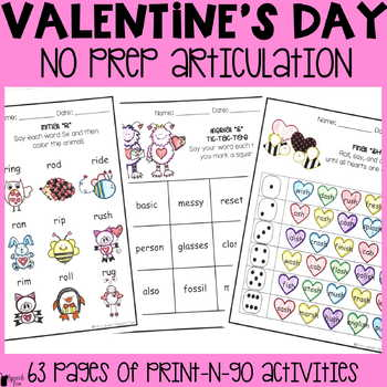 Valentine's Day Articulation  Activities ALL SOUNDS