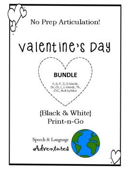 Valentine's Day Articulation BUNDLE - NO PREP [BW] k/g/f/s/blends/sh/ch/l/th