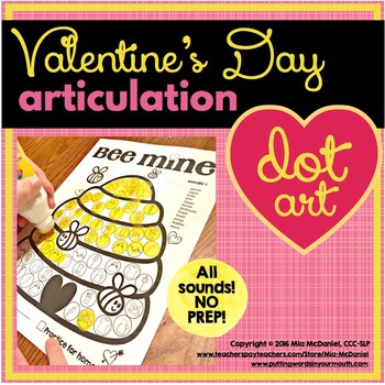 Bee Mine Valentine's Day Articulation Dot Art {all sounds & NO prep!}