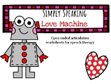 Valentine's Day Speech Therapy Open Ended Articulation Worksheets