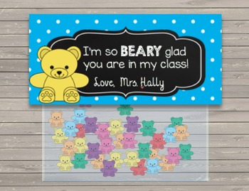BEARY Glad Favors - Printable - Student Incentive - Cards - Birthday