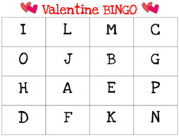 Valentine's Day BINGO - 2 SETS (Letters & Words)