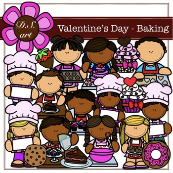 Valentine's Day - Baking Digital Clipart (color and black&white)