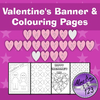 Valentine's Day Banner and Colouring Pages