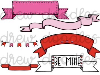 Valentine's Day Banners and Arrows Digital Clip Art Set