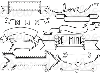 Valentine's Day Banners and Arrows Digital Clip Art Set- Black Line Version