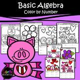Valentine's Day   Basic Algebra   Color-by-Number Worksheets