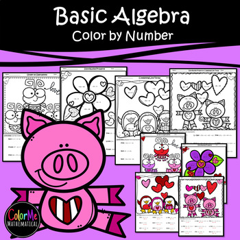 Basic Algebra Color by Number Worksheets (distribute, combine like terms, etc.)