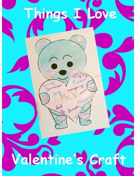 Valentine's Day Bear Craft: Things I Love