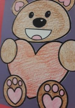 Valentine's Day Bear Pattern craft activity