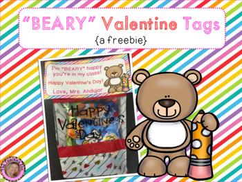 Valentine's Day Bear Tags Freebie