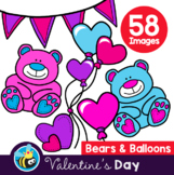Valentine's Day - Bears & Balloons (Clipart)