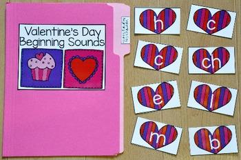 Valentine's Day Beginning Sounds File Folder Game