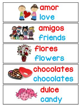 Valentine's Day Bilingual Vocabulary Cards