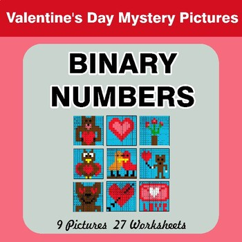 Valentine's Day: Binary Numbers - Mystery Pictures / Color By Number