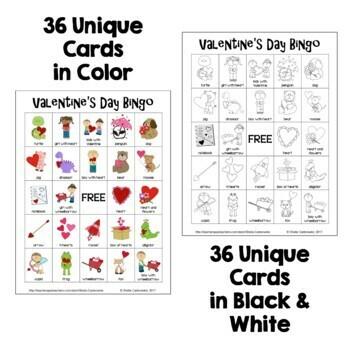 Valentine's Day Bingo - 36 Unique Cards in Color AND Black and White
