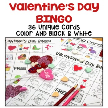 Valentine's Day Bingo - 36 Unique Cards in Color AND Black and White