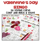 Valentine's Day Bingo with 36 Unique Cards in Color AND Bl