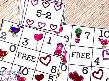 Valentine's Day Bingo {Addition and Subtraction within 10}