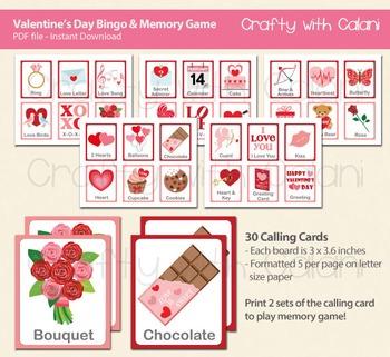 Valentine's Day Bingo & Memory Game, Valentine's Day Printable Bingo & Memory