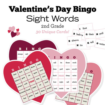 Valentine's Day Bingo - Second 2nd Grade Sight Words - 30 Unique Cards