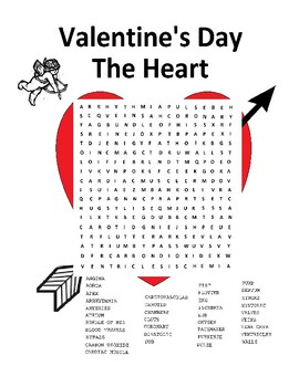 Valentine's Day Biology  Heart Word Search Puzzle