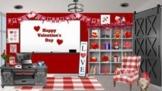 Valentine's Day Bitmoji Virtual Classroom Template plus Gn