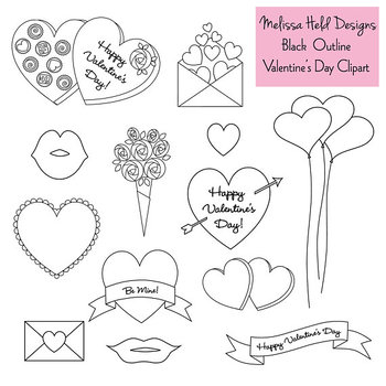 Valentine's Day Digital Stamps Clipart