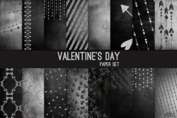 Valentine's Day Black Silver Glitter 12x12 Digital Paper Art Texture Background
