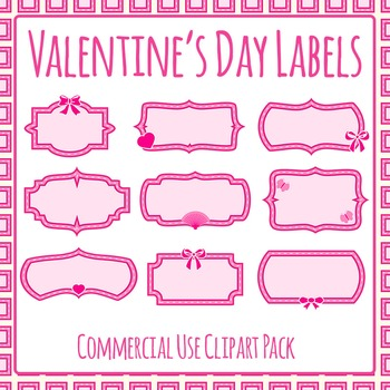 Valentine's Day Blank Labels Commercial Use Clip Art Set