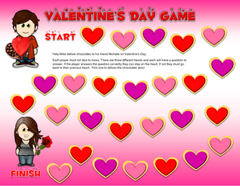 Valentine's Day Board Game with Hearts
