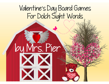 Valentine's Day Board Games For Dolch Sight Words