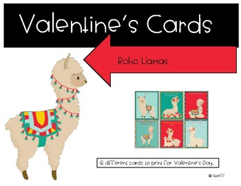 Valentine's Day Boho Llama Cards
