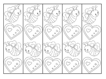 Valentine's Day Bookmarks Color Your Own