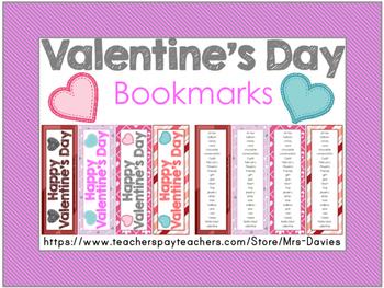 Valentine's Day Bookmarks Mrs Davies