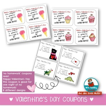 Valentine's Day Bookmarks and [No Homework Coupons] FREE