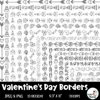 Valentine's Day Borders Clip Art - 15 different designs