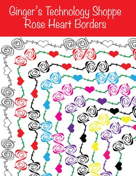 Valentine's Day Borders / Frames * Rose Hearts * Love