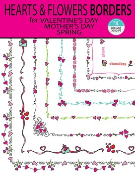 Hearts & Flowers Borders for Valentine's Day / Mother's Day / spring