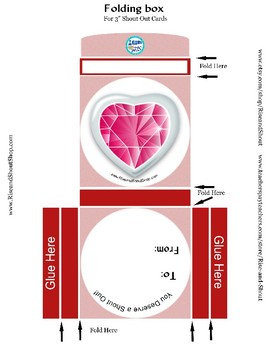 "Valentine's Day Boxes, Gem Heart and Teddy Bear, Printable, 3.5"" and 5.5"""