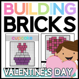 Valentine's Day Brick Building Mats & Task Cards: Math & Reading Activities