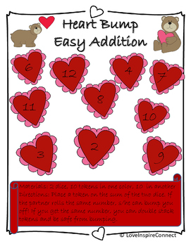 Addition Bump Game: Valentine's Day Theme