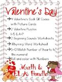 Valentine's Day Bundle for Kindergarten -- Math & ELA