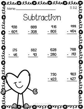 Valentine's Day Bundle Math Worksheets - Mix regrouping and non-regrouping